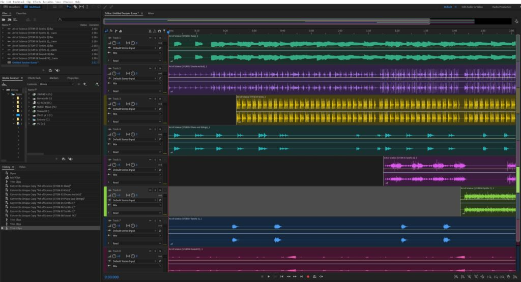 Working with stem files in Adobe Audition