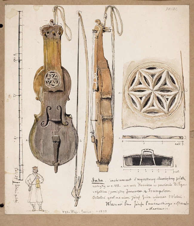 DI 28498; Gerson Wojciech (illustrator); Suka. An ancient Polish string instrument purchased in 188[.] in the village of Kocudza in the Biłgoraj district (between Janów and Frampol). It was last played by Józef Góra, then 50 years old. Property of Mr. Józef Pawłowski art. painter in Warsaw; 1895; ink, watercolor; cardboard; 25,5 x 22,4 cm
